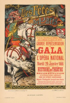 Les Fetes de Paris: l'Opera International advertisement for the Gala of the History of Theatre 1886 by Eugene Grasset.