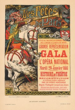 l'Opera International advertisement for the Gala of the History of Theatre 1886 by Eugene Grasset.