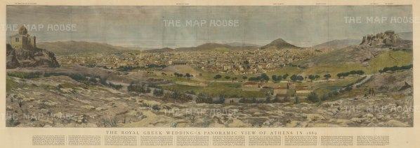 Panorama with critique of the city below. Athens was the centre of world attention for the wedding of Crown Prince Konstantinos to Sophia of Prussia, sister to Kaiser Wilhelm II.