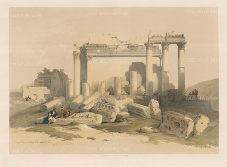 Baalbec: Ruins of the Propylaeum (Eastern Portico) to the temple complex at Heliopolis.