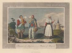 """Pelham: Menorca & Majorca. 1810. A hand coloured original antique steel engraving. 6"""" x 4"""". [MEDp320]"""