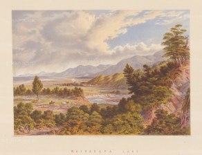 "Barraud: Wairarapa Lake. 1877. An original antique chromolithograph. 17"" x 12"". [NWZp259]"