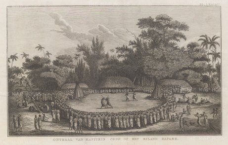 Hapaee Island. Captain Cook seated at centre watching the display in his honour. After John Webber artist on the Third Voyage. Dutch edition.