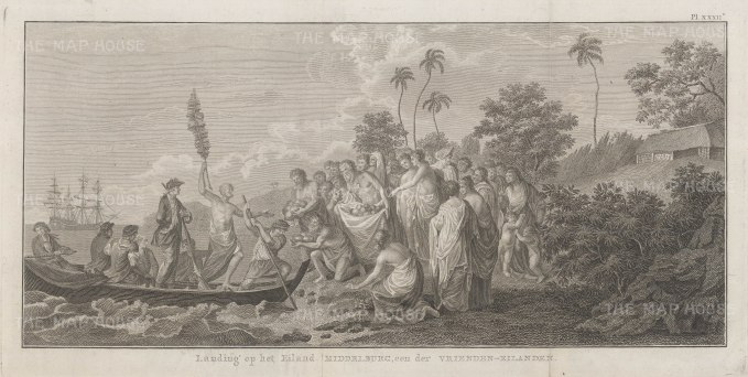 Middleburg Island (Eua). Landing of Captain Cook. After William Hodge, artist on the Second Voyage. Dutch edition.