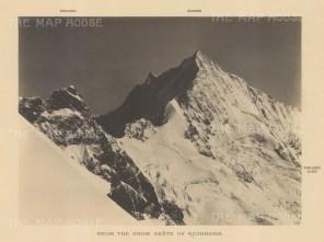 View from Rothorn of Schallhorn, Weisshorn & Schalliberg Glaciers