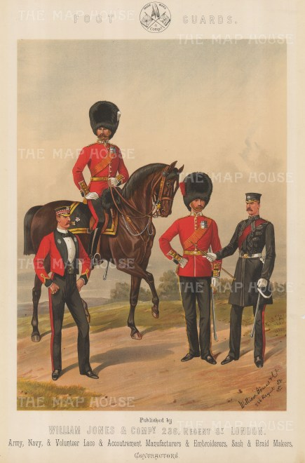 Foot Guards: Royal Scot Fusilier on horse with a Grenadier and a Coldstream on foot.