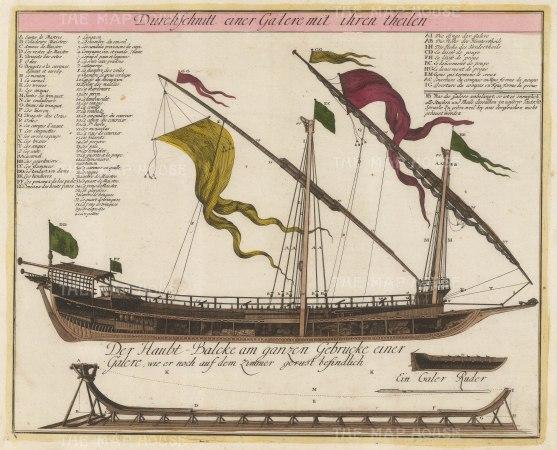 "Weigel: Mediterranean galley. c1720. An original colour antique copper engraving. 16"" x 13"". [NAVp88]"