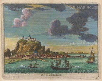 "van der Aa: Gibraltar. 1727. A hand coloured original antique copper engraving. 6"" x 5"". [SPp1045]"