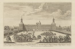 Royal Palace (Palacio Real de Madrid). View of the principal front of the palace and the Plaza de la Armeria with cavalry procession.