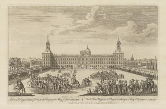 Royal Palace (Palacio Real de Madrid): View of the principal front of the palace and the Plaza de la Armeria with cavalry procession.