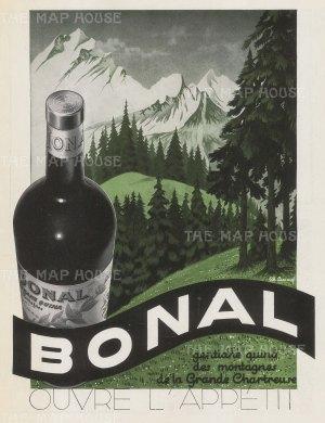 "L'Illustration: Bonal. 1939. An original vintage chromolithograph. 9"" x 12"". [DECp2087]"