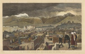 Peshawar: View over the city towards the Khyber Pass.