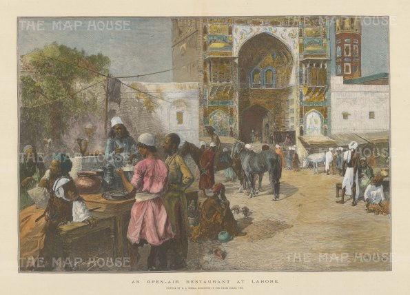 Lahore. View of an Open Air restaurant. After Edwin Weeks.