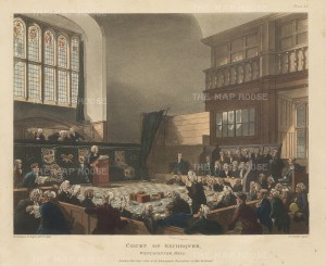 "Ackermann: Court of the Exchequer. 1808. An original colour antique aquatint. 11"" x 9"". [LDNp8744]"