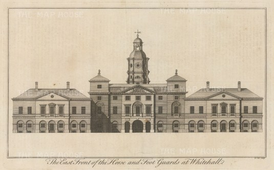 Horse and Foot Guards East Facade. Destroyed in the fire of 1698 and replaced by Royal Horseguards.