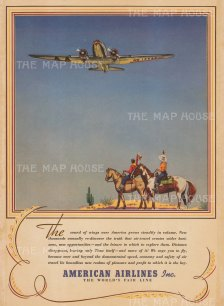 """New York Times: American Airlines. 1939. An original vintage colour print. 20"""" x 14"""". [DECp2101]"""