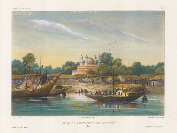 Hooghly River: View of a mosque in the then suburbs. After Barthelemy Lauvergne, artist on the voyage of La Bonite 1836-7.