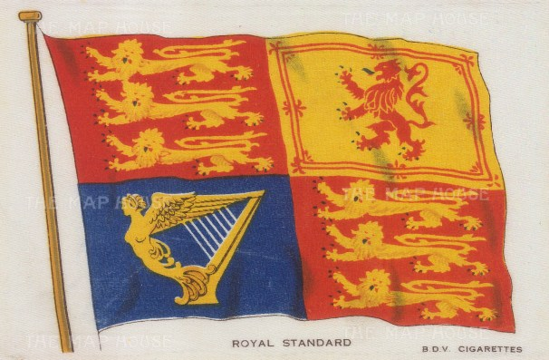 "BDV Cigarettes: Great Britain, Royal Standard. c1910. An original antique printed colour on silk. 6"" x 4"". [ARMp45]"