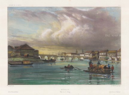 Manila: Puente Grande (Jones Bridge) over the Passig River with traditional boats in foreground. After Théodore-Auguste Fisquet, one of the artist on the voyage of La Bonite 1836-7.