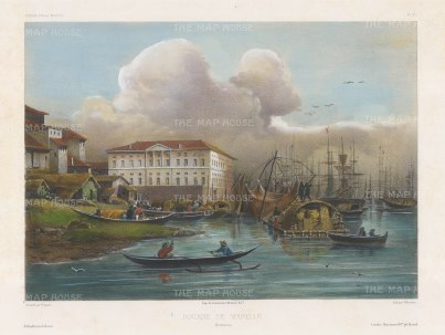 Manila. View of the Customs House (National Archive) on Plaza de Espana. After Théodore-Auguste Fisquet, one of the artists on the voyage of La Bonite 1836-7.