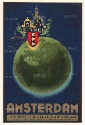 "van Os: Amsterdam, Eastern Hemisphere. c1950. An original vintage colour print. 25"" x 38"". [WLD4305]"