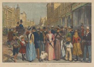 "Illustrated London News: Collins Street, Melbourne. 1890. A hand coloured original antique wood engraving. 20"" x 14"". [AUSp725]"