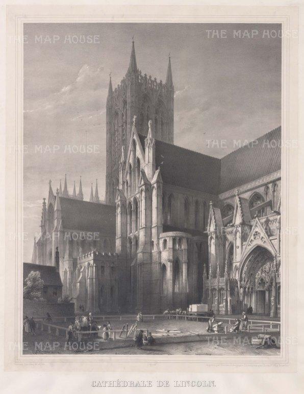 "Simonau: Lincoln Cathedral, Lincolnshire. 1843. An original antique steel engraving. 23"" x 29"". [ENGp108]"