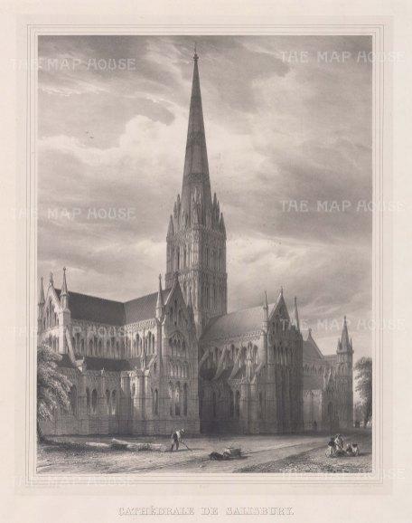 "Simonau: Salisbury Cathedral, Wiltshire. 1843. An original antique steel engraving. 23"" x 29"". [ENGp295]"