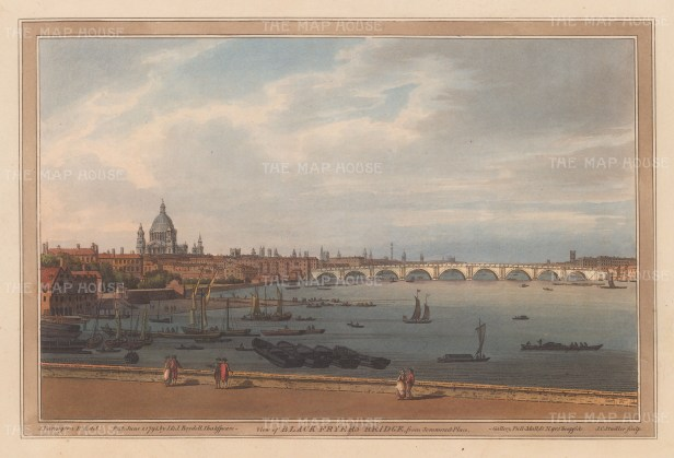 Blackfriars Bridge: From Somerset Place with St. Paul's Cathedral in background. Originally named William Pitt Bridge, it came to be known by name of the nearby precinct on the site of Blackfriars Monastery.