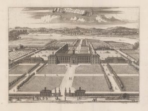 Chelsea College. Bird's-eye view towards the Thames of the house and grounds established in 1682 by Charles II.