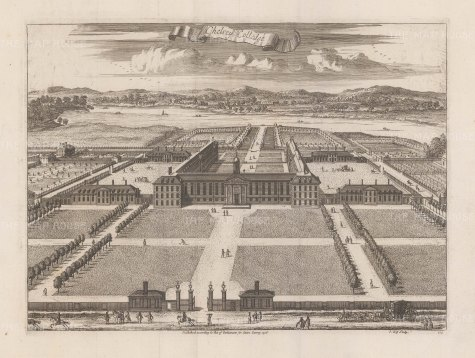 Chelsea College: Bird's-eye view towards the Thames of the house and grounds established in 1682 by Charles II.