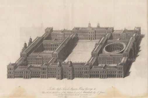 North-west view. Designed by Inigo Jones, the Palace was the residence of the monarch from 1530 until 1698 when all but the Banqueting House was destroyed by fire.