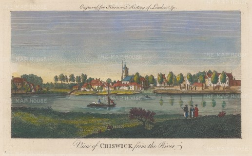 "Harrison: Chiswick. 1775. A hand coloured original antique copper engraving. 14"" x 7"". [LDNp10353]"