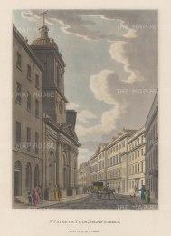 """Malton: St Peter le Poor, Broad Street. 1800. A hand coloured original antique aquatint. 11"""" x 14"""". [LDNp2988]"""