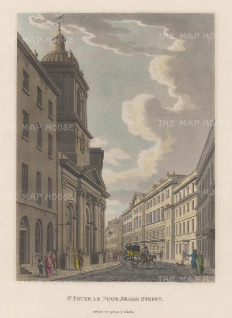 "Malton: St. Peter le Poor, Broad Street. 1800. A hand coloured original antique aquatint. 11"" x 14"". [LDNp2988]"