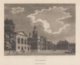 "Malton: The Parade, Horse Guards. 1800. An original antique aquatint. 14"" x 11"". [LDNp2996]"