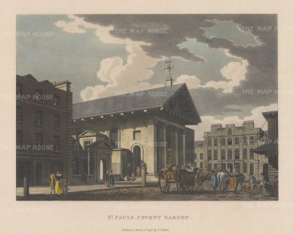 "Malton: St. Paul's Church, Covent Garden. 1796. A hand coloured original antique aquatint. 14"" x 11"". [LDNp3306]"