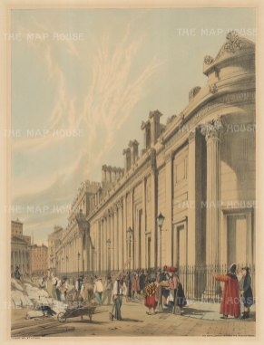 Looking towards the Mansion House. View of the South side of St Bartholomew Lane looking West. To the right of Mansion House is the spire of St Antholin, Budge Row.
