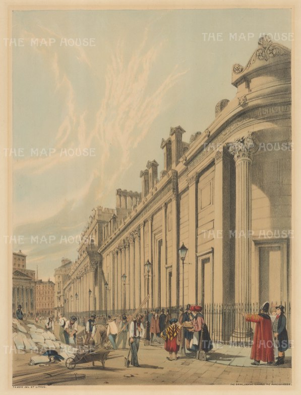 Bank: Looking towards the Mansion House. View of the South side of St Bartholomew Lane looking West. To the right of Mansion House is the spire of St Antholin, Budge Row.
