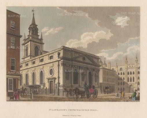 "Malton: St Lawrence's Church, Guildhall. 1798. A hand coloured original antique aquatint. 14"" x 11"". [LDNp6491]"