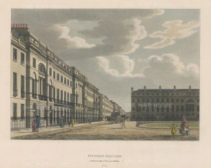 "Malton: Fitzroy Square. 1800. A hand coloured original antique aquatint. 14"" x 11"". [LDNp6492]"