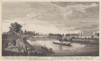 Isleworth. Syon House. View from the Thames of the London residence of the Dukes of Northumberland.