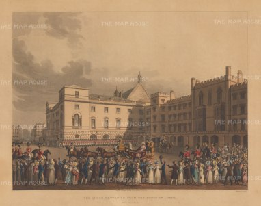 House of Lords: The Queen returning. Caroline of Brunswick was never crowned Queen as George IV, unsuccessful in divorcing her, barred her from the coronation.