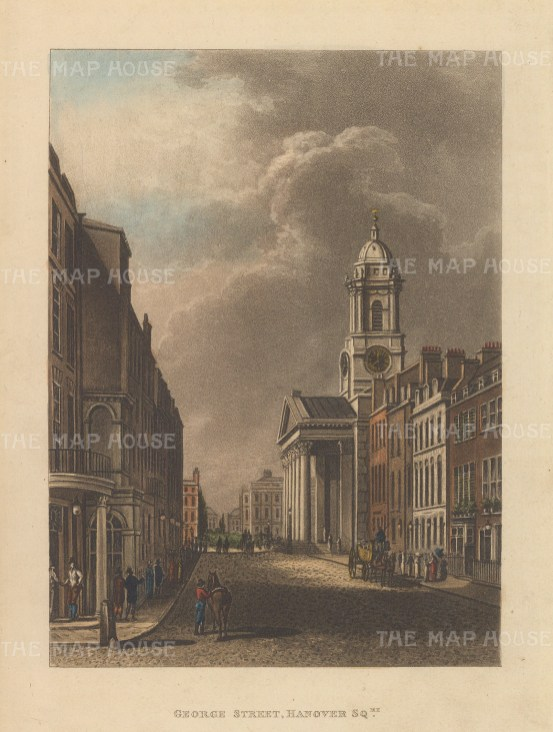 "Papworth: St. George Street, Hanover Square. 1816. An original colour antique aquatint. 6"" x 8"". [LDNp9204]"