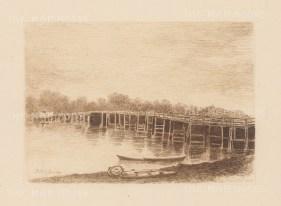 "Herring: Putney Bridge. 1884. An original antique etching. 5"" x 4"". [LDNp9215]"