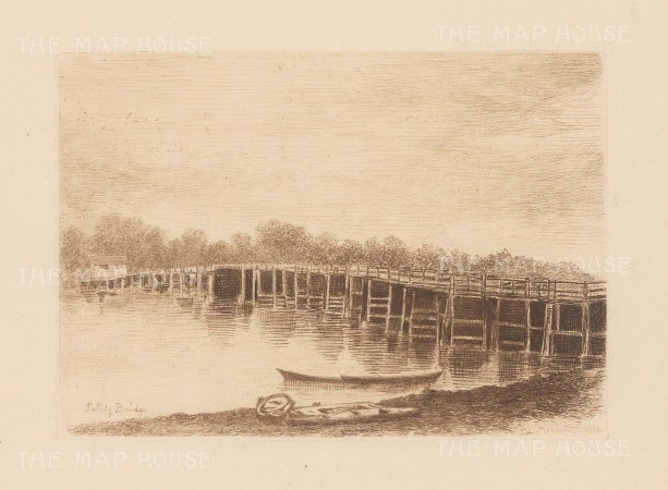 "Herring: Putney Bridge. 1884. An original antique etching. 5"" x 4"". [LDNp9215]"
