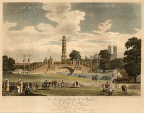 St. James's Park. View of the bridge and pagoda erected for the Grand Jubilee.