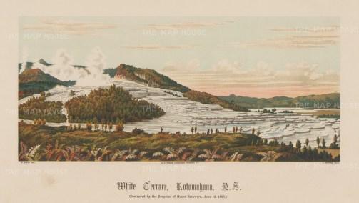 White Terrace (Te Otukapuarangi) at Lake Rotowahana. The colossal deposits of silica were destroyed by the eruption of Mount Tarawera in 1886.