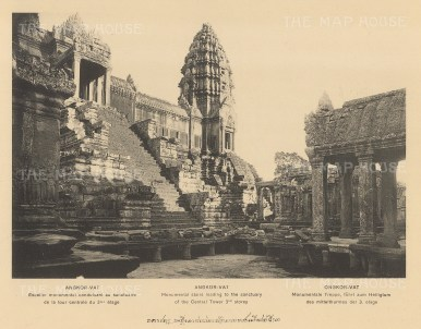 Angkor Wat: Central Tower and stairs leading to the Sanctuary. Published in Hanoi. Dieulefils worked for L'Ecole Francaise d'Extreme Orient and first exhibited his photographs at the l'Exposition universelle de Paris 1889.