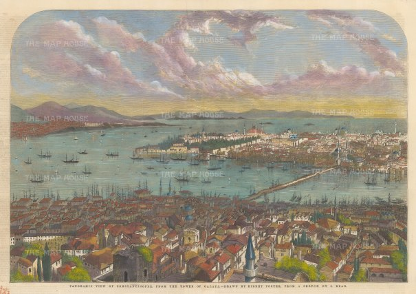 """Illustrated London News: Istanbul. 1853. A hand coloured original antique wood engraving. 21"""" x 14"""". [TKYp1296]"""